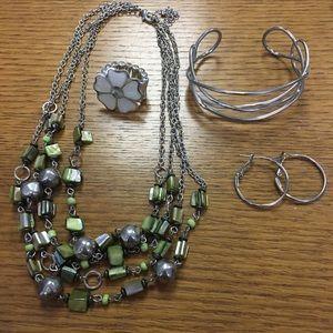 Jewelry - Silver and Green Jewelry Set (4 piece)